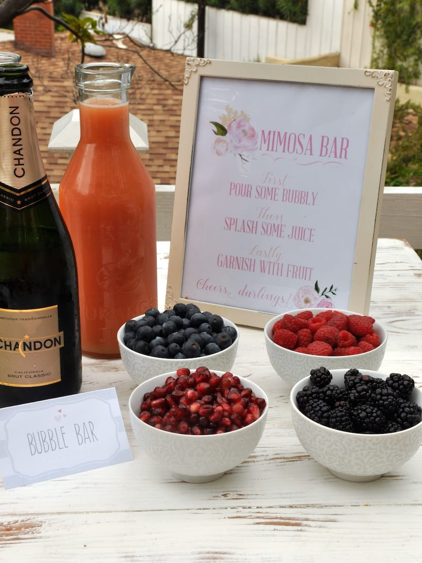 Baby Shower Menu from www.whatsgabycooking.com Mimosa Bar complete with fresh fruit (@whatsgabycookin)