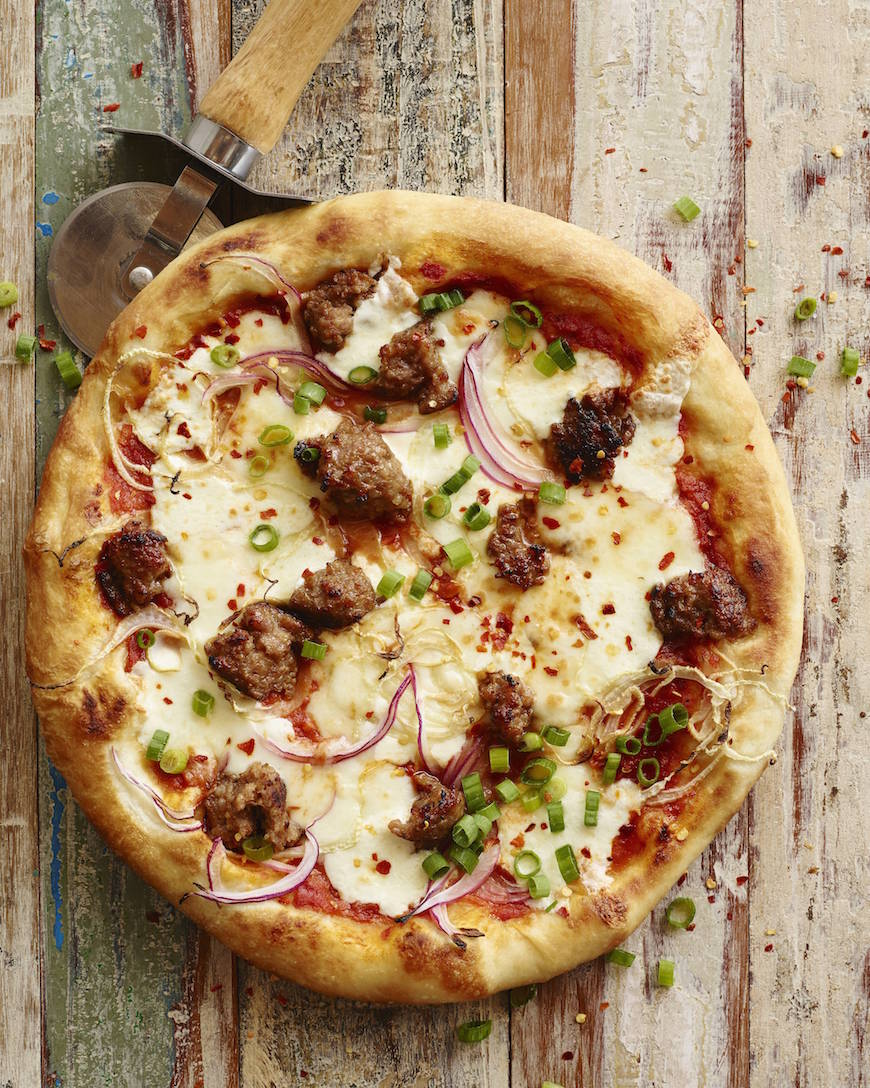 Smoked Mozzarella and Sausage Pizza from www.whatsgabycooking.com (@whatsgabycookin)