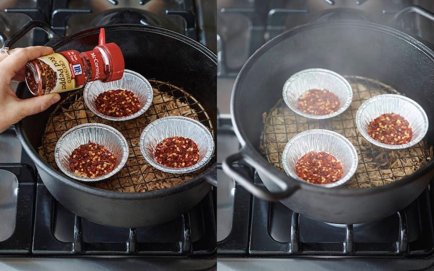 Smoking red pepper flakes