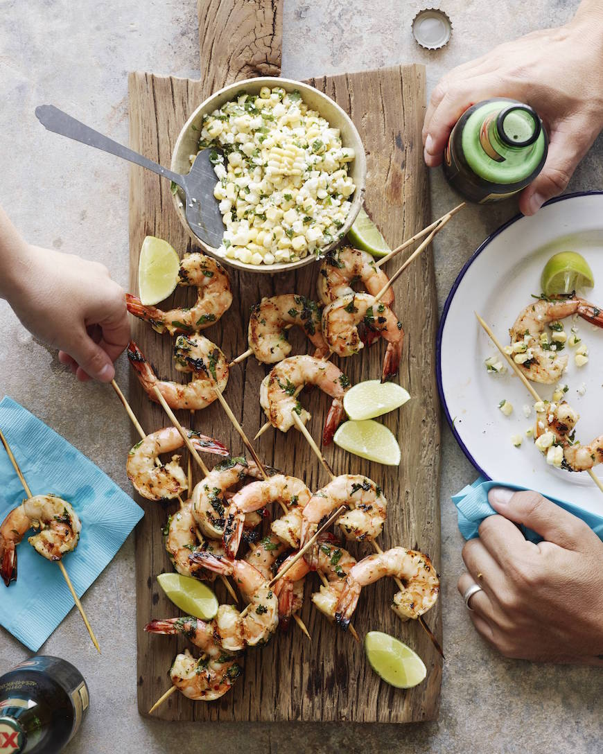 Mexican Shrimp Skewers with Corn Salsa from www.whatsgabycooking.com (@whatsgabycookin)