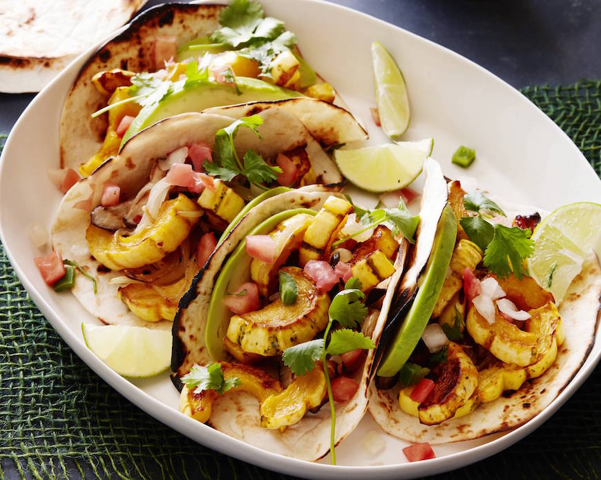 Vegetarian Tacos with Delicata Squash and Mushrooms from www.whatsgabycooking.com (@whatsgabycookin)