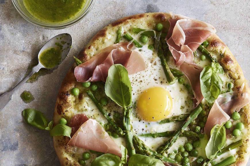 Pea Prosciutto Spring Pizza