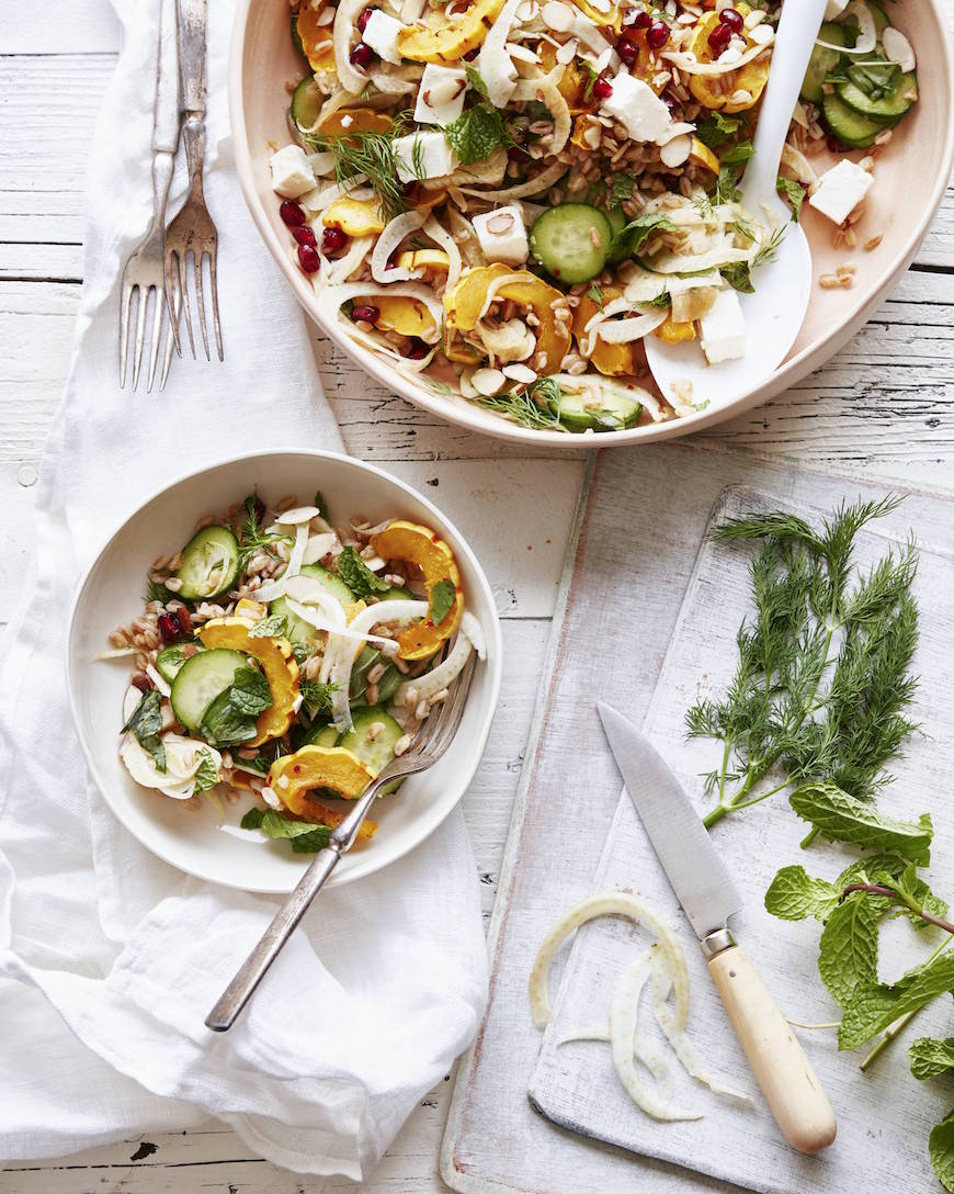 Farro Delicata Squash Salad from www.whatsgabycooking.com (@whatsgabycookin)
