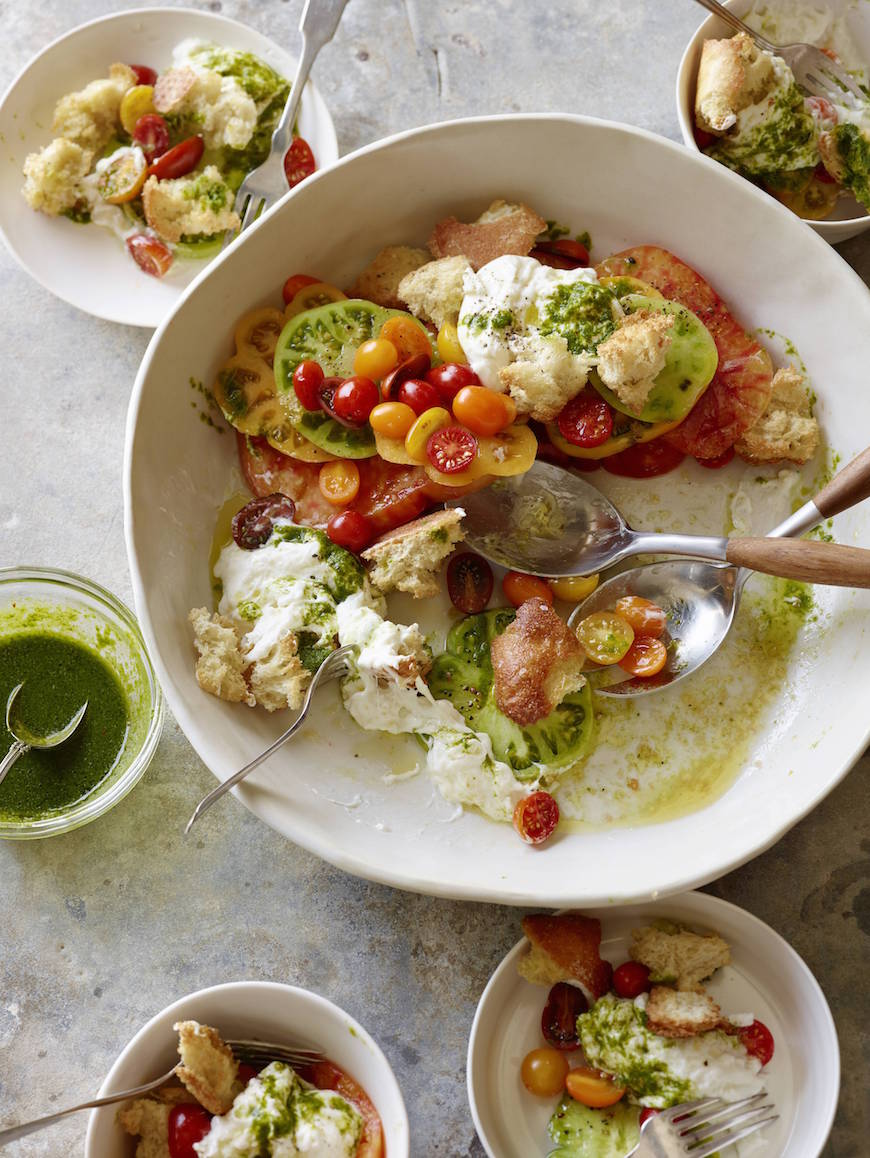 Burrata Tomato Salad with Basil Dressing from www.whatsgabycooking.com (@whatsgabycookin)